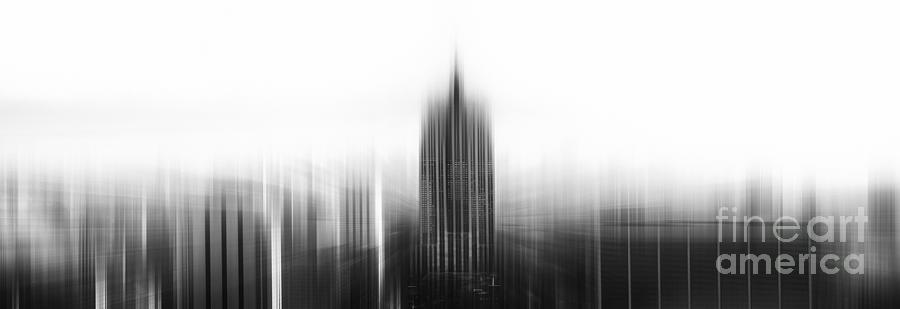 Pano Photograph - Abstract Bw Empire State And New York Skyline by Stefano Senise