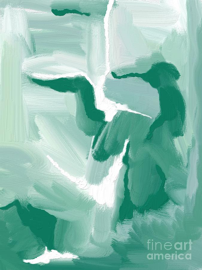 Abstract Expressionism Emerald And White Painting