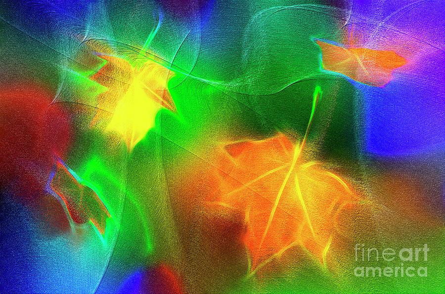 Abstract Falling Maple Leaves Digital Art