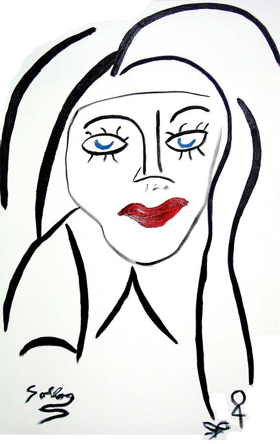 Abstract Painting - Abstract Female Face by Sollog Artist
