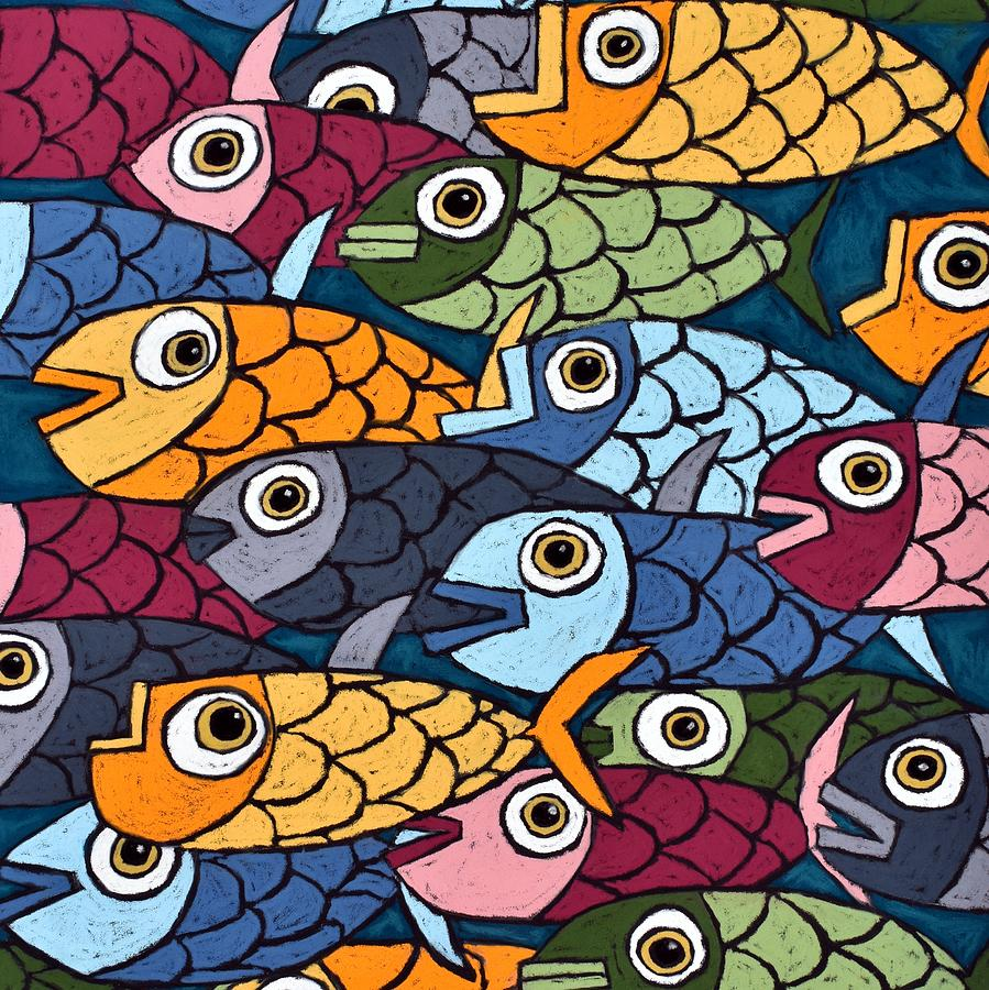 Abstract Fish - Square Crop Painting