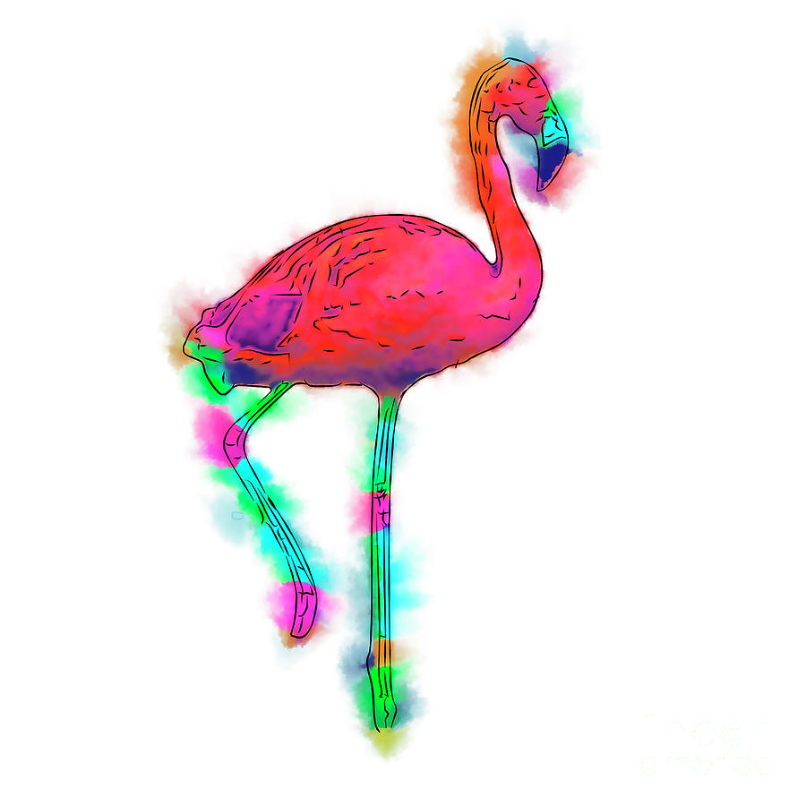 Flamingo Digital Art - Abstract Flamingo Step by Kirt Tisdale
