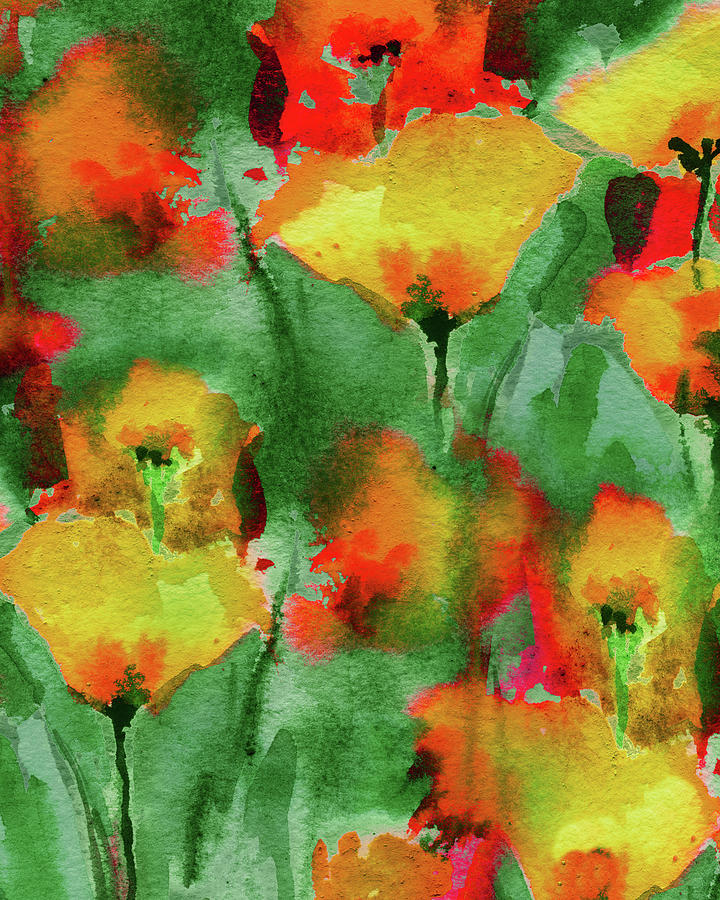 Abstract Floral Watercolor Painting Bright Red And Yellow Poppy Field Painting