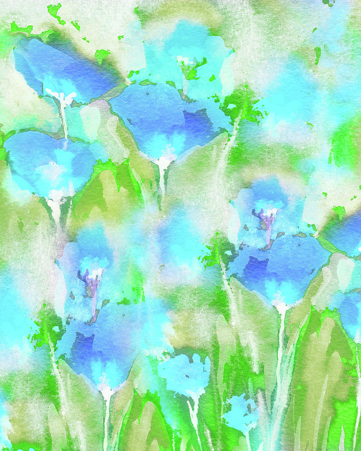 Abstract Floral Watercolor Painting Sunny Blue Wildflowers Field Painting