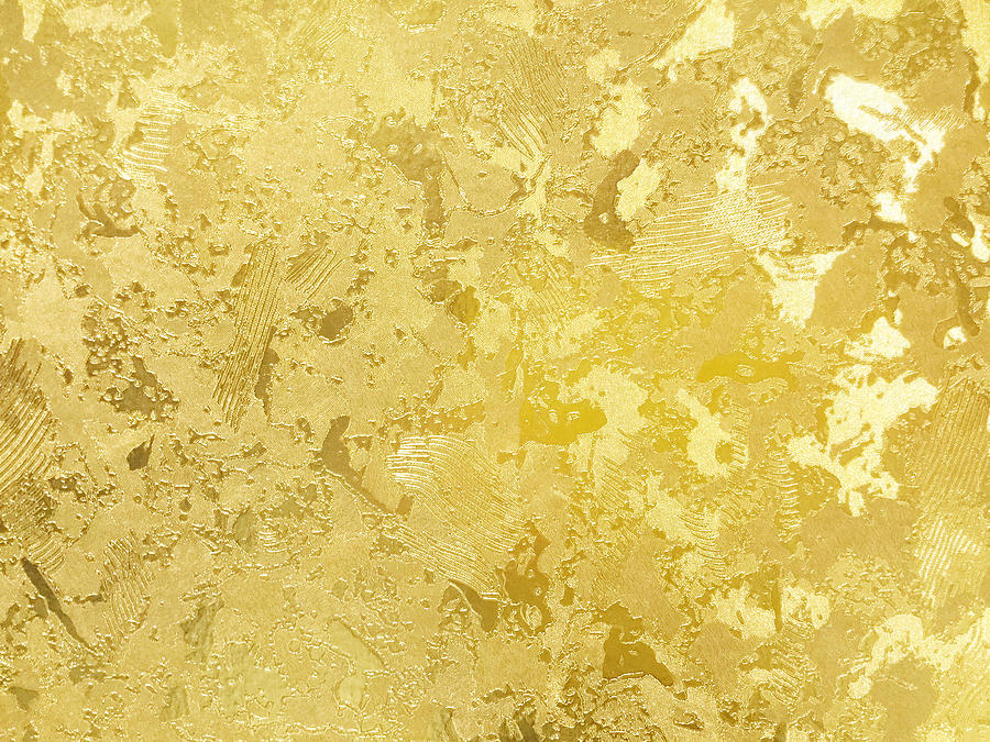 Abstract Gold Color Painted On Grunge Rough Surface Of Stucco Concrete Wall. Golden Texture Background And Wallpaper Drawing
