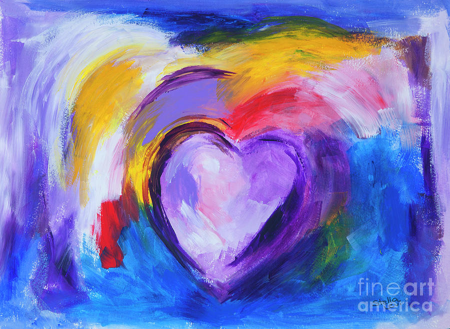 Abstract purple Heart painting by Stella Levi