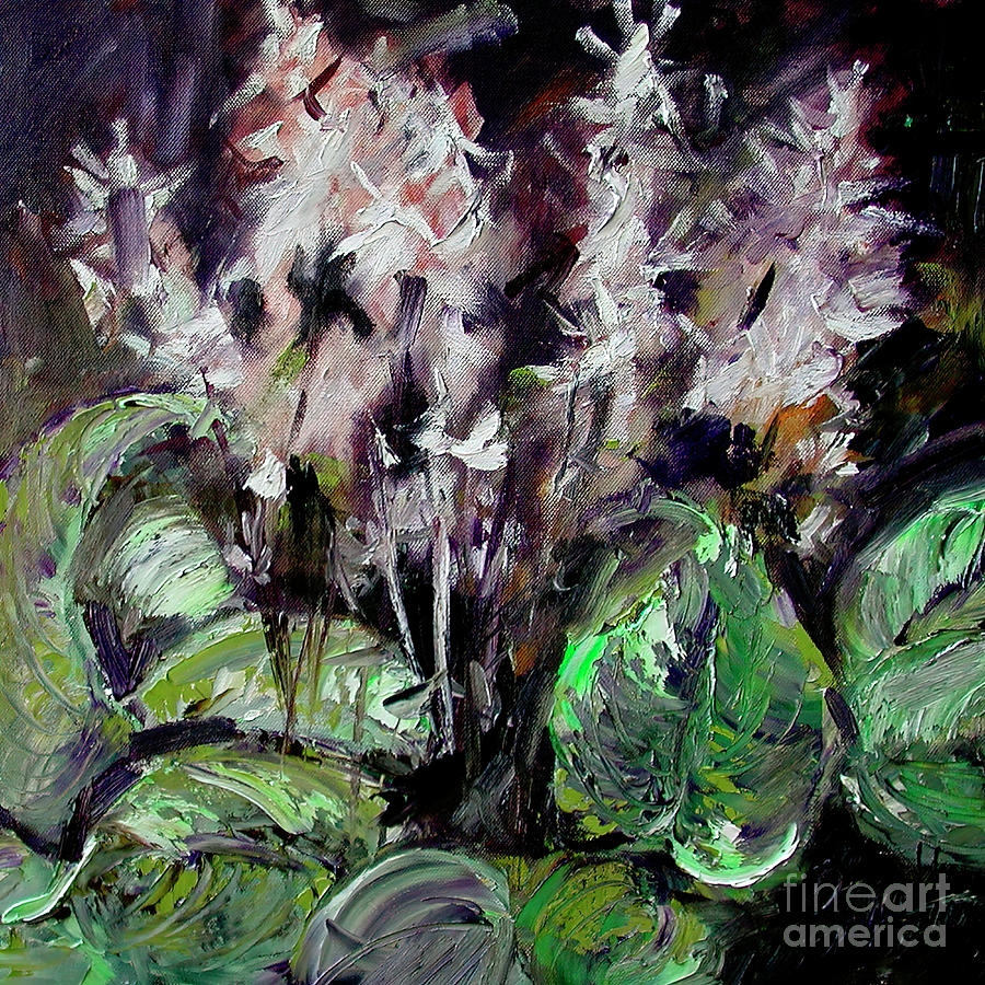 Abstract Hostas Flowers Painting by Ginette Callaway