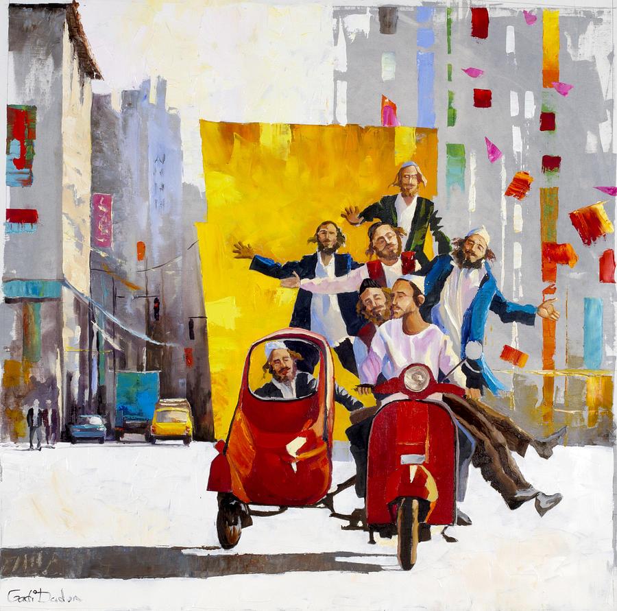 Abstract Jewish street scene   by Gadi Dadon