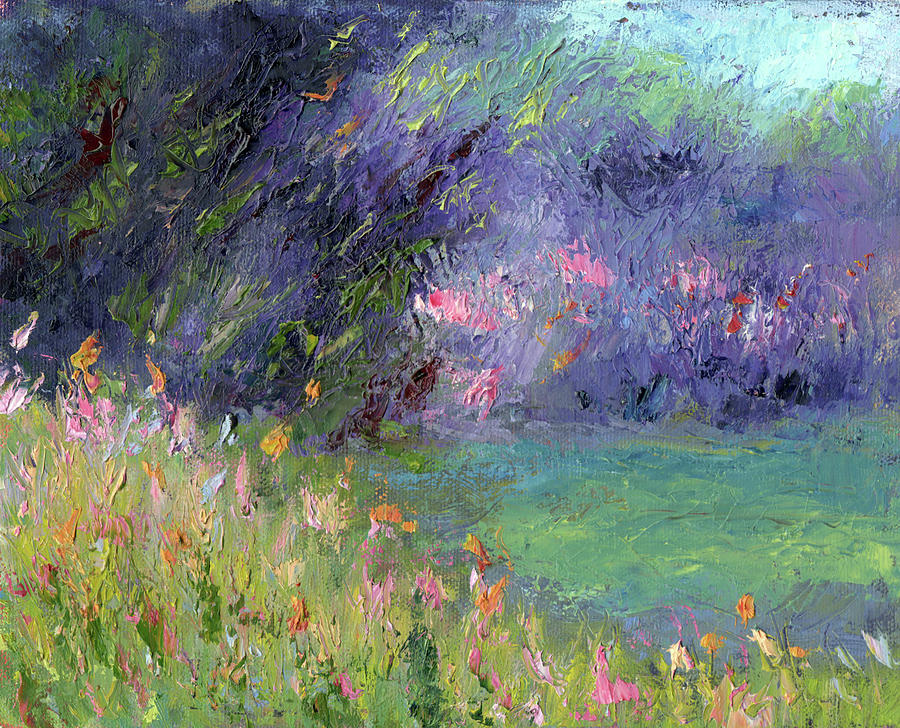 Landscape Painting - Abstract Lake by Diane Martens