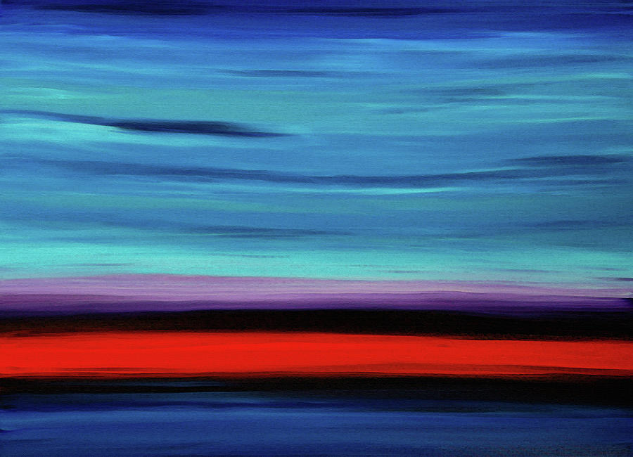 Red Painting - Abstract Landscape Art - Color Shore - Sharon Cummings by Sharon Cummings