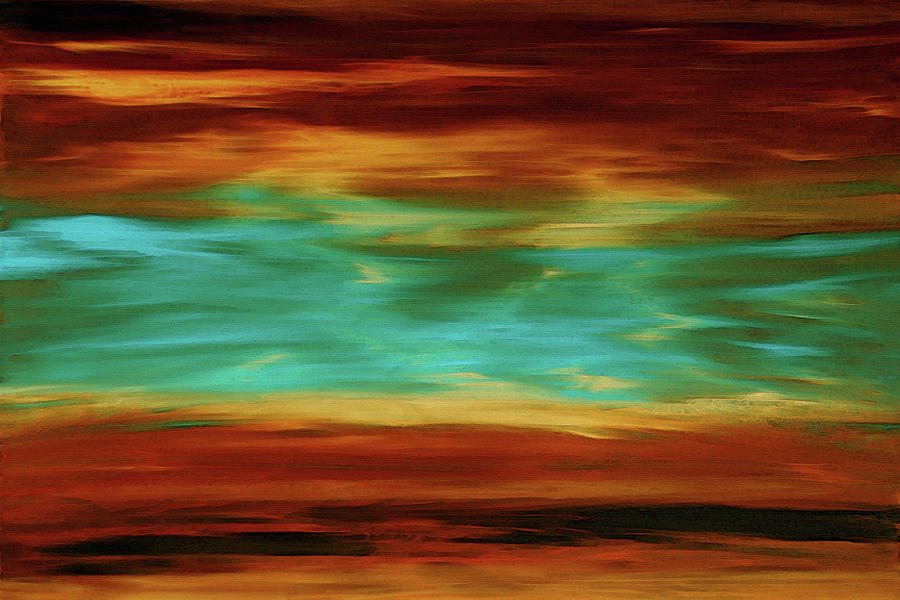 Copper Painting - Abstract Landscape Art - Fire Over Copper Lake - By Sharon Cummings by Sharon Cummings
