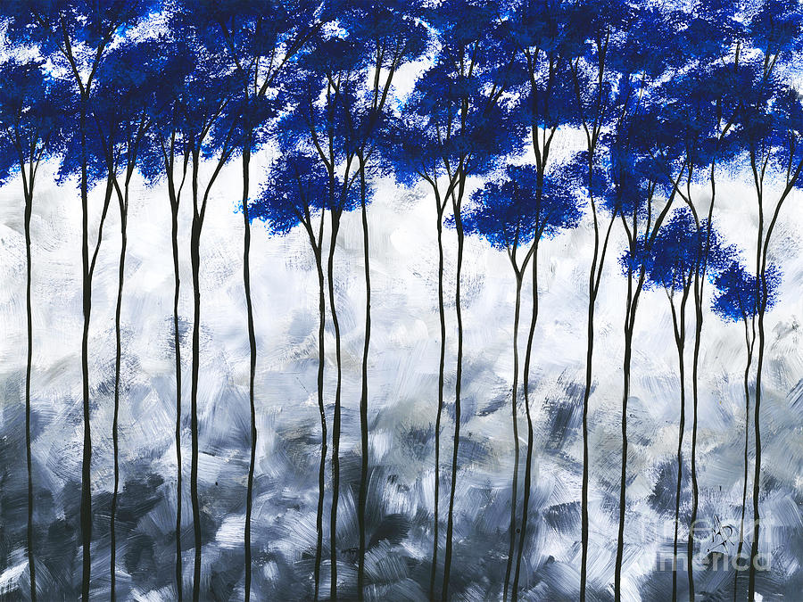 Abstract Painting - Abstract Landscape Blue Gray Tree Tress Painting Art by Megan Duncanson by Megan Duncanson