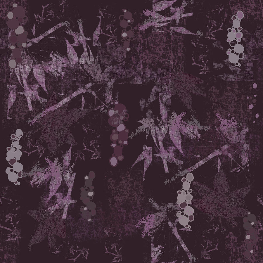 Plum Digital Art - Abstract Maple and Bubbles Plum Tones by Sand And Chi