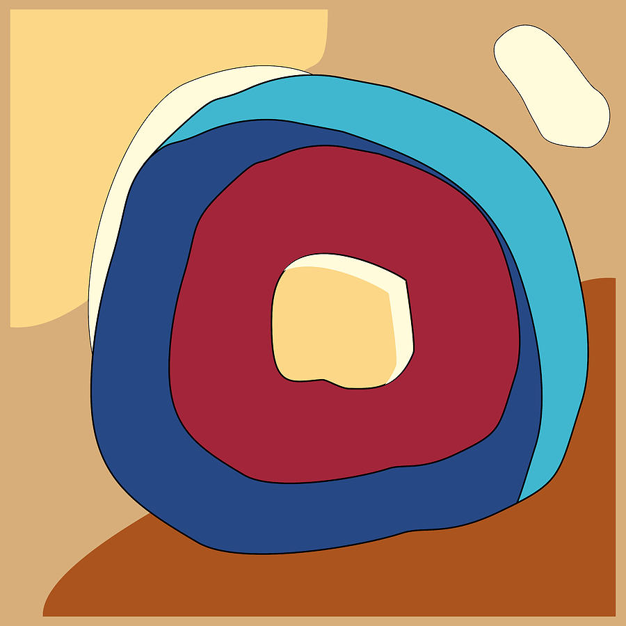 Abstract Digital Art - Abstract modern minimalist geometric digital art with red and blue circles on a beige background by Elena Sysoeva