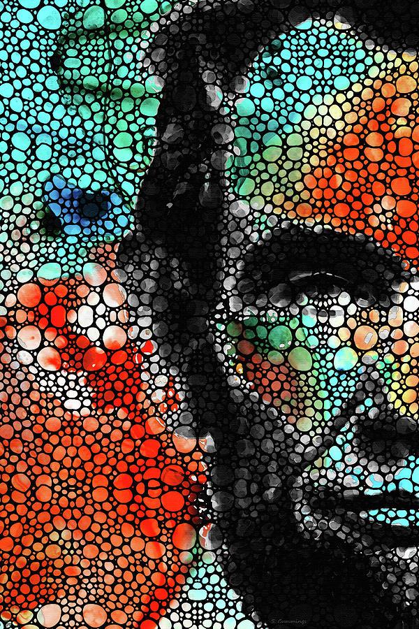 Abraham Lincoln Painting - Abstract Mosaic Abraham Lincoln Portrait - Sharon Cummings by Sharon Cummings
