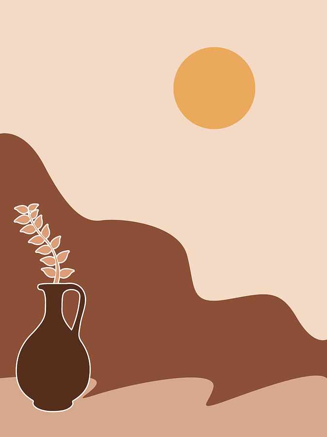 Abstract Mountain and Vase - Modern, Minimal, Contemporary Abstract - Terracotta Brown - Landscape by Studio Grafiikka