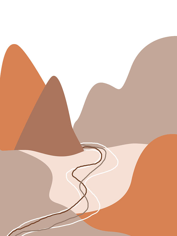 Abstract Mountains 01 - Modern, Minimal, Contemporary Abstract - Terracotta Brown - Landscape Mixed Media