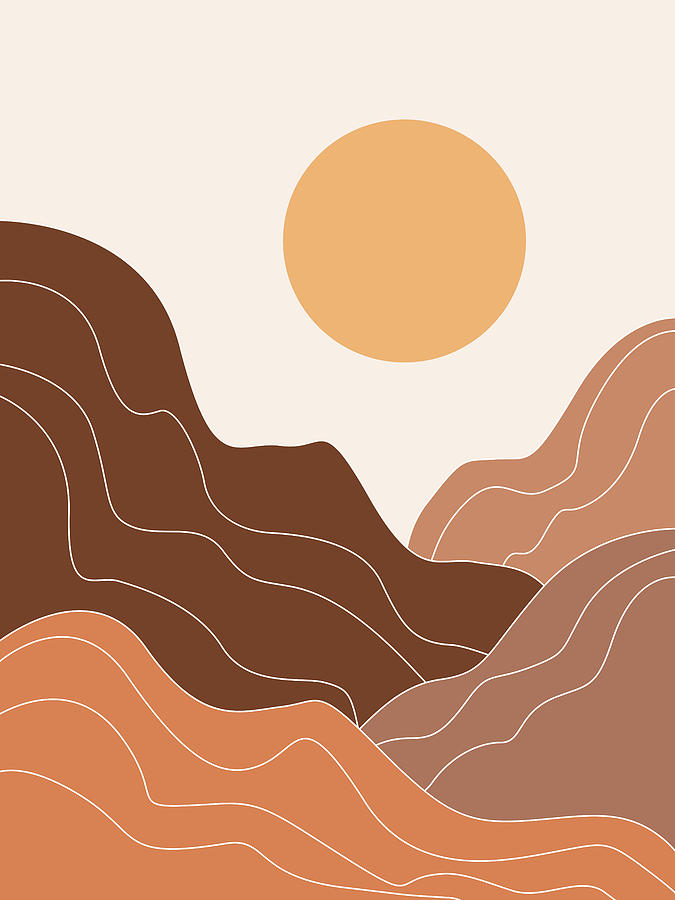 Abstract Mountains 02 - Modern, Minimal, Contemporary Abstract - Terracotta Brown - Landscape Mixed Media