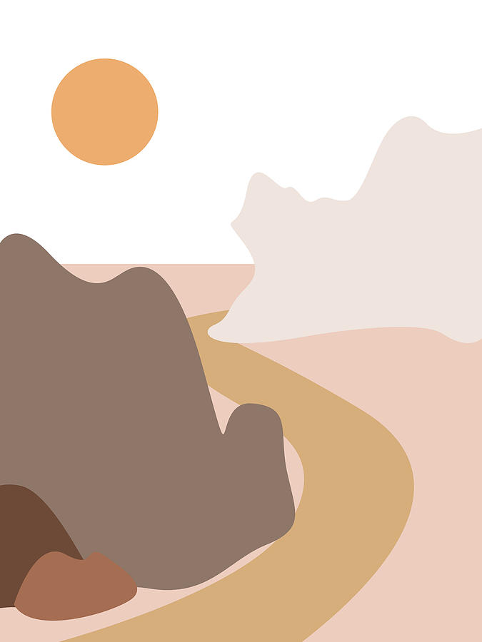 Abstract Mountains 04 - Modern, Minimal, Contemporary Abstract - Terracotta Brown - Landscape by Studio Grafiikka