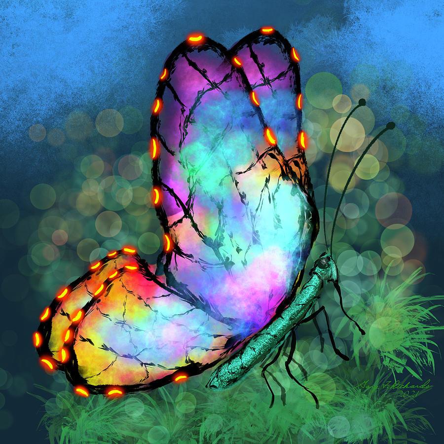 Abstract Neon Butterfly Digital Art