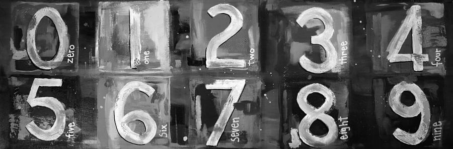 Abstract Numbers - Black And White Digital Art