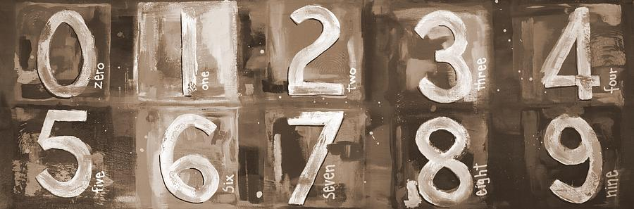 Abstract Numbers - Sepia Digital Art