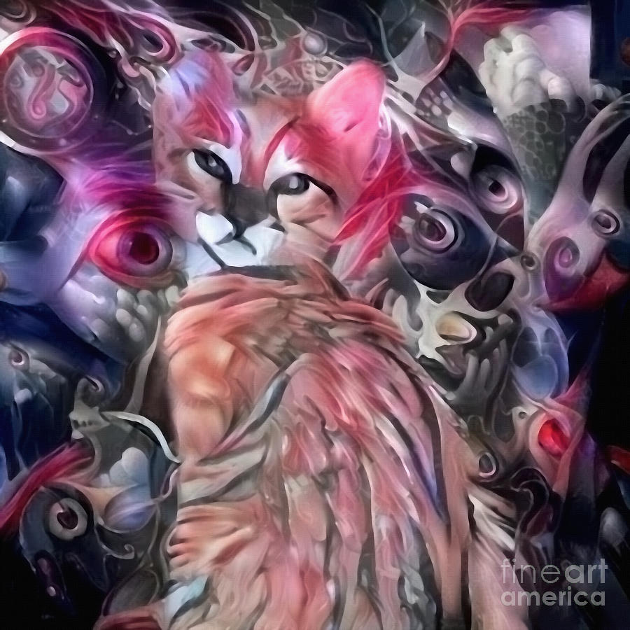 Abstract Painting. Cute Kitten Digital Art