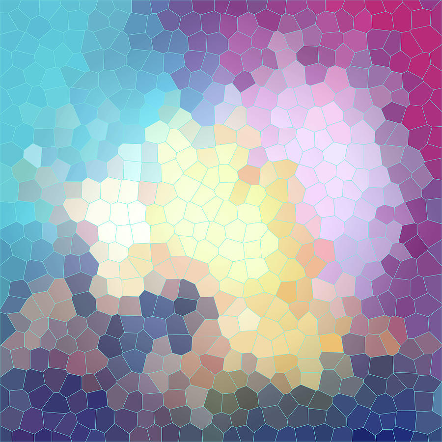 Pink Digital Art - Abstract pink, yellow, blue, violet stained glass design with mosaic by Elena Sysoeva