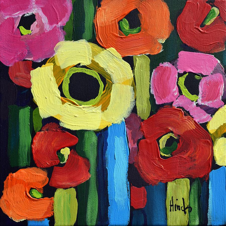 Abstract Poppies Square 1 Painting
