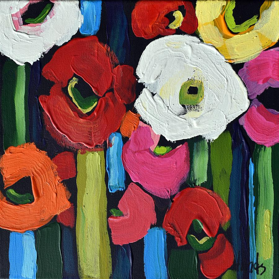 Abstract Poppies Square 2 Painting