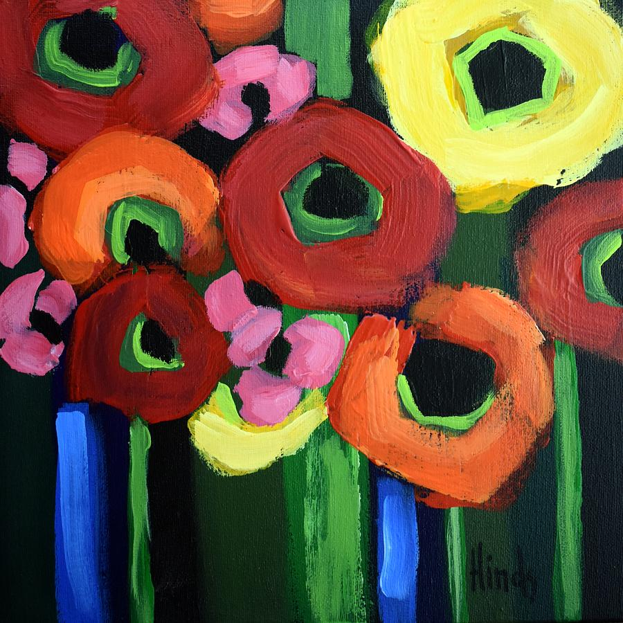 Abstract Poppies Square 4 Painting