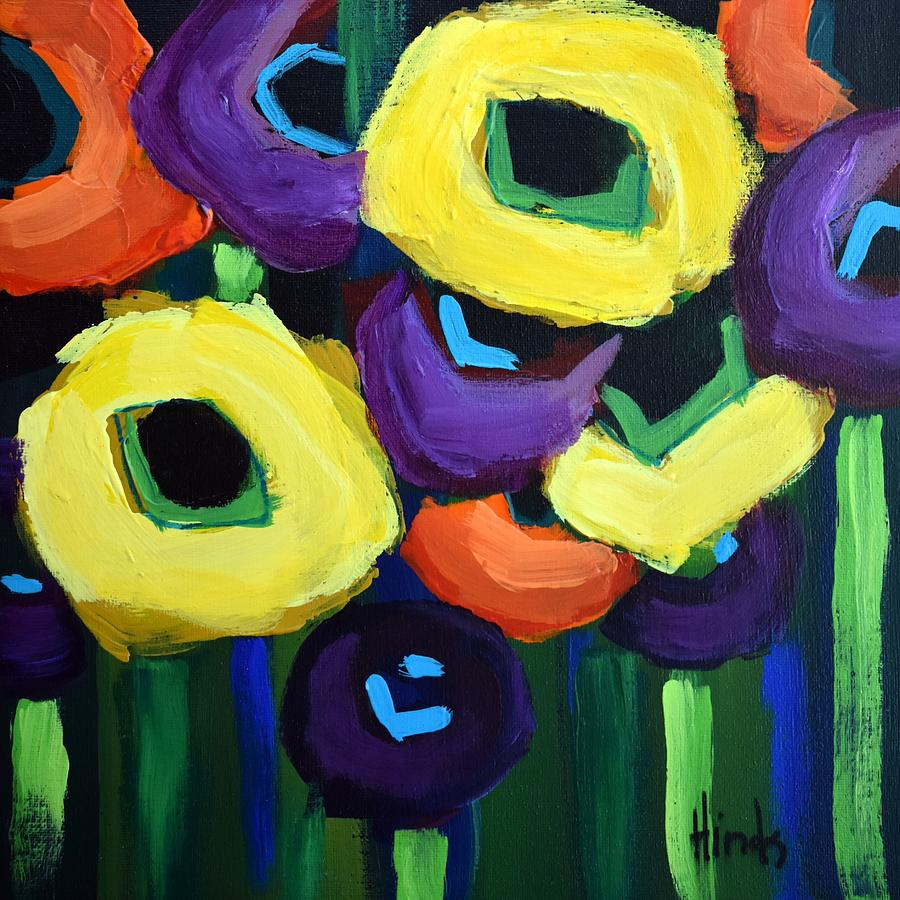 Abstract Poppies Square 5 Painting