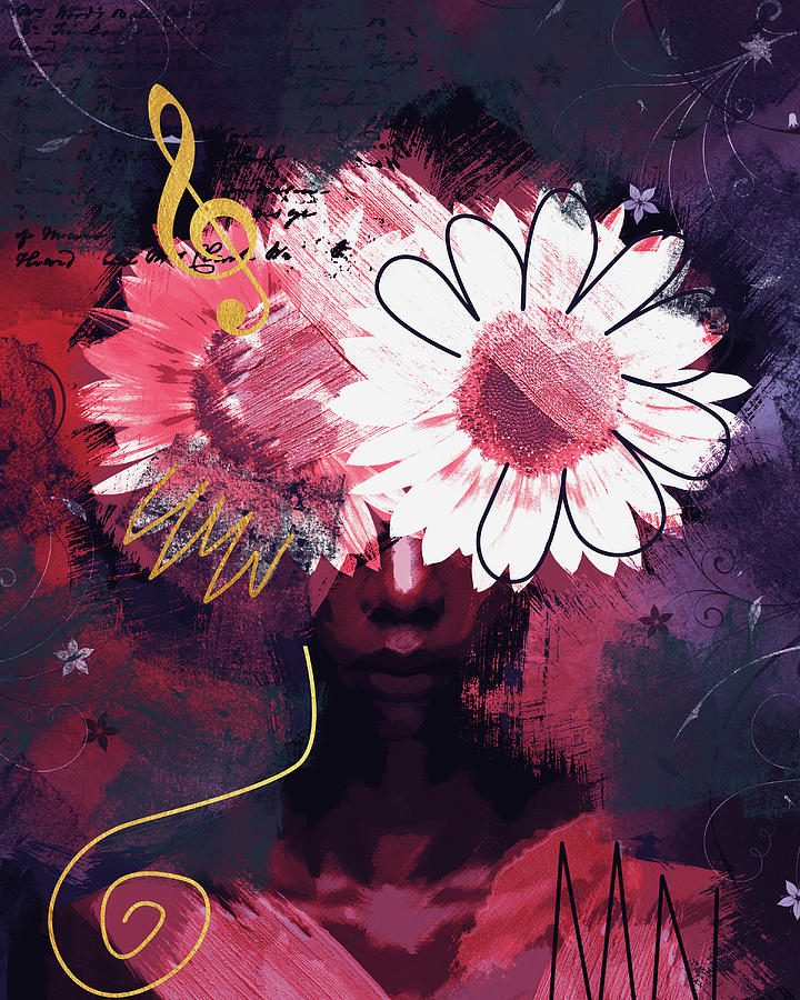 Woman Digital Art - Abstract portrait with sunflowers by Mihaela Pater
