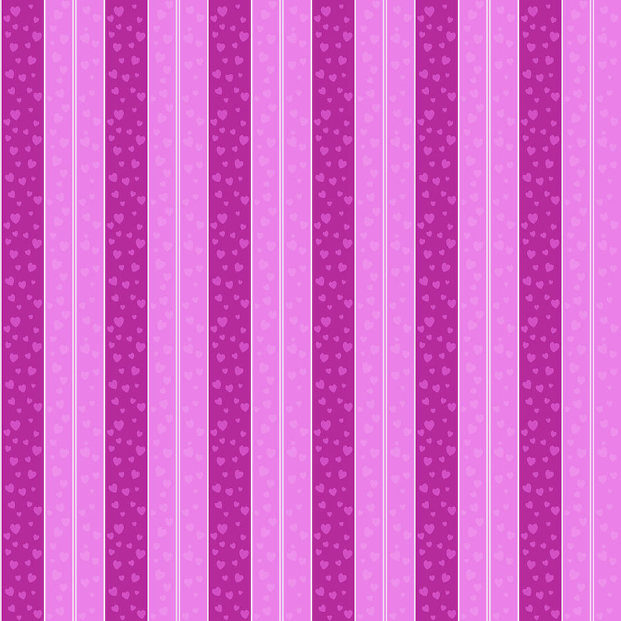 Abstract Digital Art - Abstract seamless pink background with hearts by Elena Sysoeva