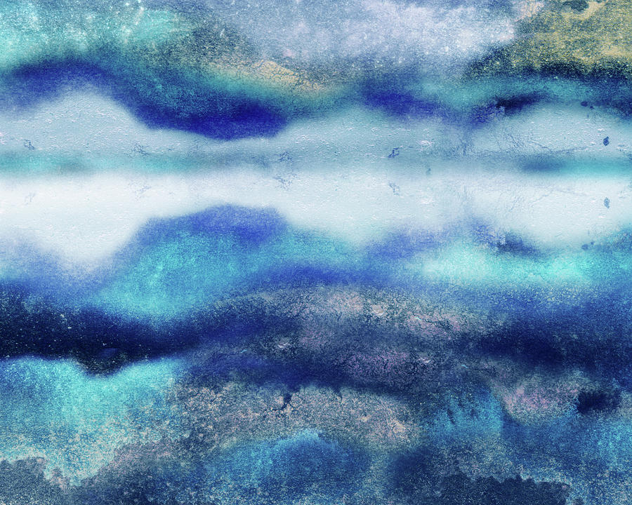 Abstract Water With Reflections Watercolor Decorative Art Painting