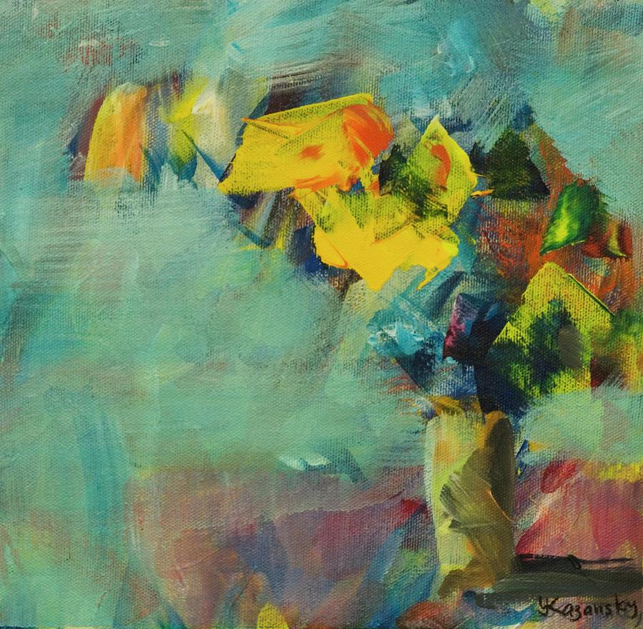 Abstract Yellow Flowers by Yulia Kazansky