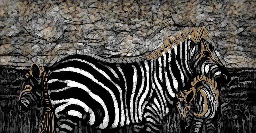 Black And White Mixed Media - Abstract Zebras Black White And Gold by Joan Stratton