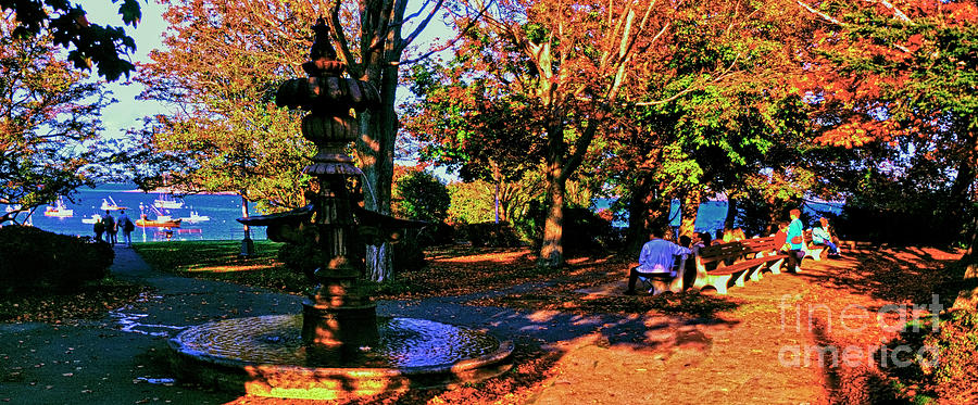 Acadia Bar Harbor city park fountain at sun set Harbor view Maine USA by Tom Jelen