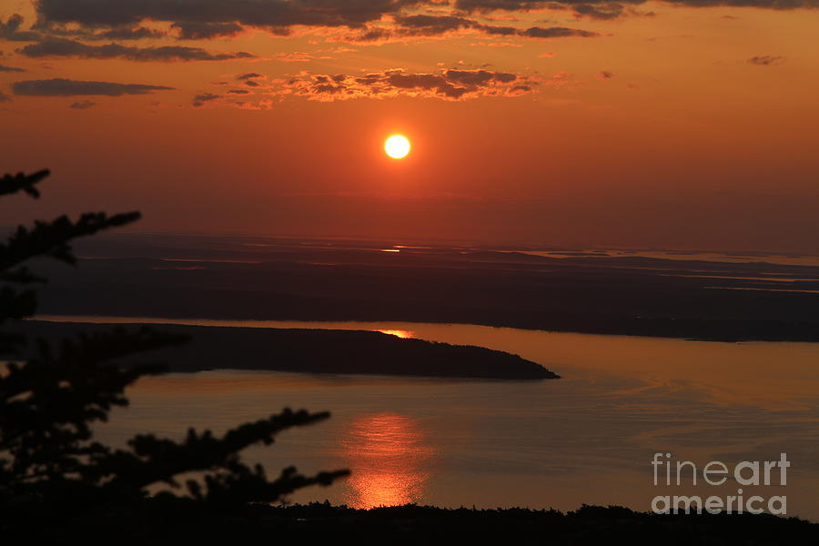 Cadillac Mountain Photograph - Acadia Sunset by Neal Eslinger