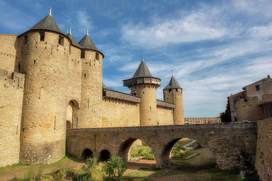 Horizontal Photograph - Access Bridge To The Medieval Village Of Carcassonne by Vicen Photography