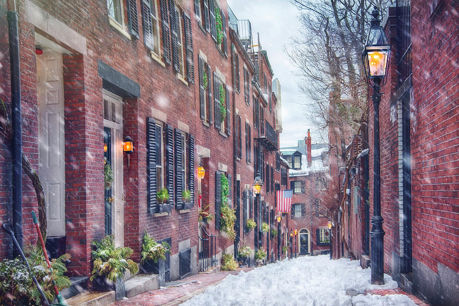 Acorn Street in Snow - Boston by Joann Vitali