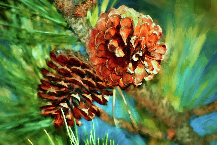 Pine Cone Watercolor Art Photograph