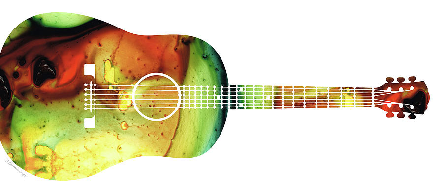 Guitar Painting - Acoustic Guitar - Colorful Abstract Musical Instrument by Sharon Cummings