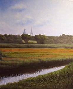 Landscape Painting - Across The Marshes To Sandwich Center by Anthony Petchkis