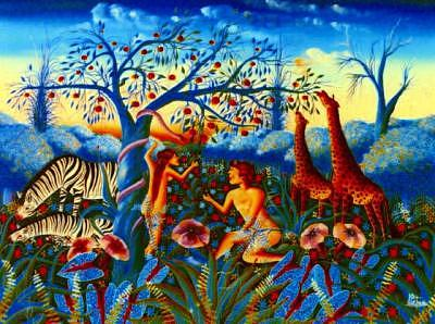 Adam And Eve Painting - Adam And Eve 30x40 Frantz Petion by Frantz Petion