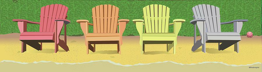 Summer Digital Art - Adirondacks on the Beach by Marian Federspiel