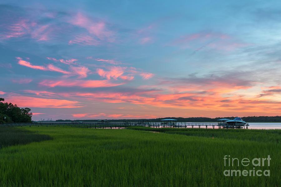 Summer Skies - Sunset Marsh - Wando River Photograph