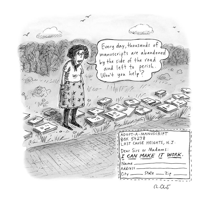 Adopt A Manuscript Drawing by Roz Chast