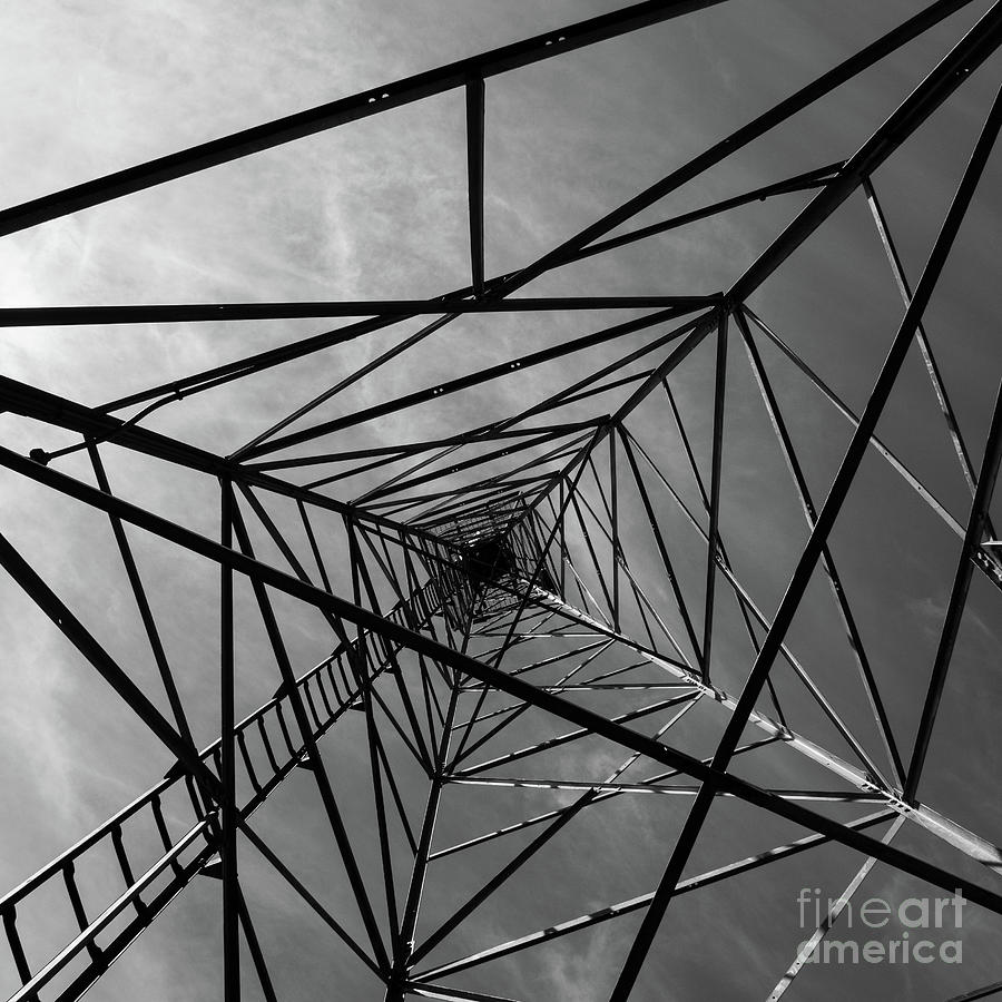 Aerial Beacon Abstract Black and White by Edward Fielding