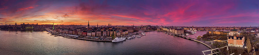 Fiery Photograph - Aerial image of the gorgeous sunset over the entire Stockholm by Dejan Kostic